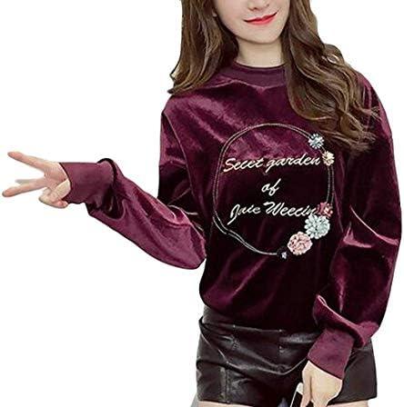 レディースオータムベルベットラウンドネックロングスリーブプルオーバースウェットシャツ 1 US Small