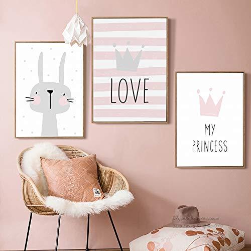 Juego de 3 Cuadros Infantiles Niña Poster 30x40 Láminas Conejo My PRINCESS LOVE 3