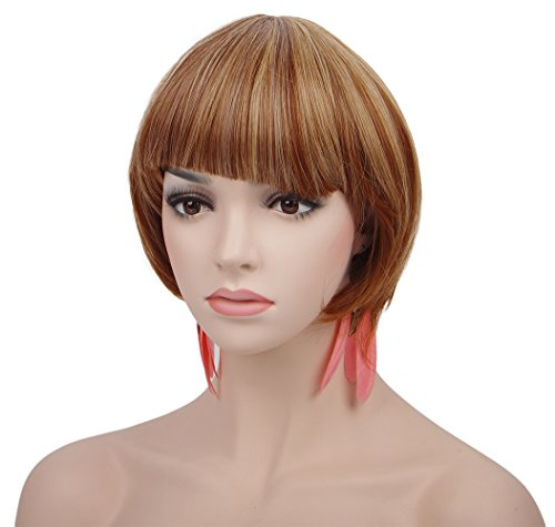 Spretty Women's Bob Style Wig LIght Brown and Blonde Mixed Wig for (Daenerys Costume Uk)