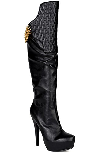 SIDE HIGH CHAIN FAUX task BOOTS EASTLION 63 ZIPPER LEATHER ACCENT blackpu PLATFORM KNEE HEEL IB6xB4a1wq