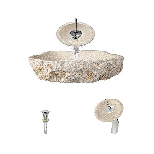 870 Galaga Beige Marble Vessel Sink Chrome Bathroom Ensem...