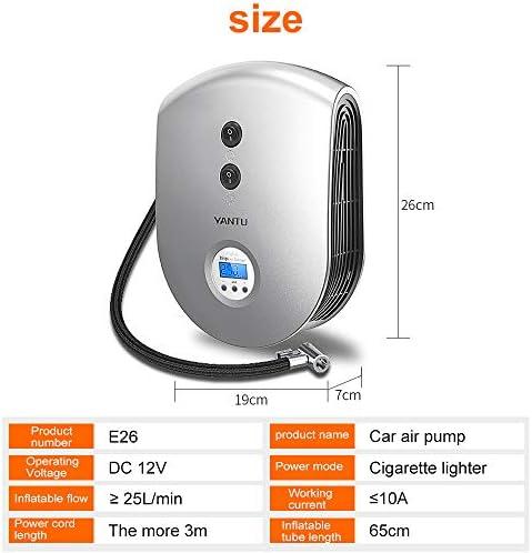 Mei Xu カーエアーコンプレッサー - プリセットデジタルディスプレイオートカータイヤインフレータ12V電動カーエアーコンプレッサーポンプLEDライトデジタルインフレータブルポンプ (色 : シルバー しるば゜)