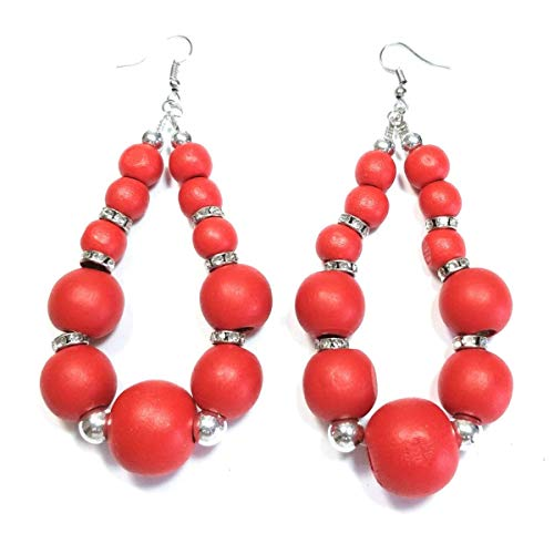 (Teri's Boutique Multi Pop color Wooden Round Ball Beads Long Oval Women Fashion Drop Dangle Earrings)