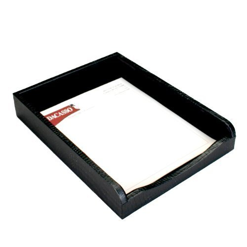 (Dacasso Black Crocodile Embossed Leather Letter Tray by)