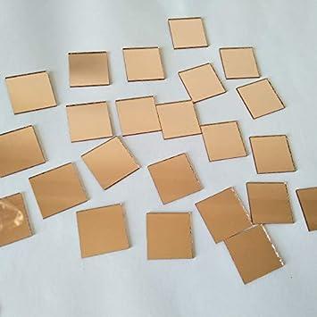 Basteln aus Glas echtes quadratisches Glas 10 mm Light Rose Gold Quadratischer Spiegel Mosaik Mosaikfliesen Glasspiegel Spiegelfliesen
