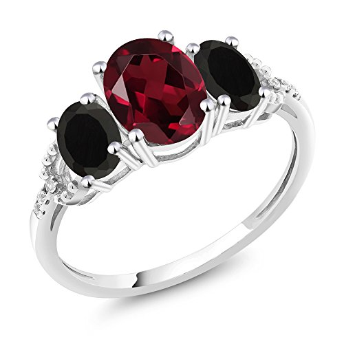 - Gem Stone King 10K White Gold Diamond Accent 3-Stone Engagement Ring set with 2.18 Ct Oval Red Rhodolite Garnet & Black Onyx (Size 8)