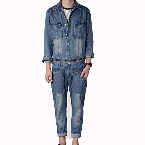 - Onesie Denim Jumpsuit Japanese Youth Retro Lapel Down Long Sleeve Tooling Detachable Casual Loose Jacket Korean Version Bib Pants Tide Trend Street