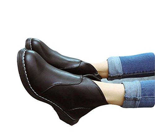 Ein Bißchen Herbst Kurz Fashion Lederschuhe Damen Britische Stil Martin Stiefel schwarz-lox