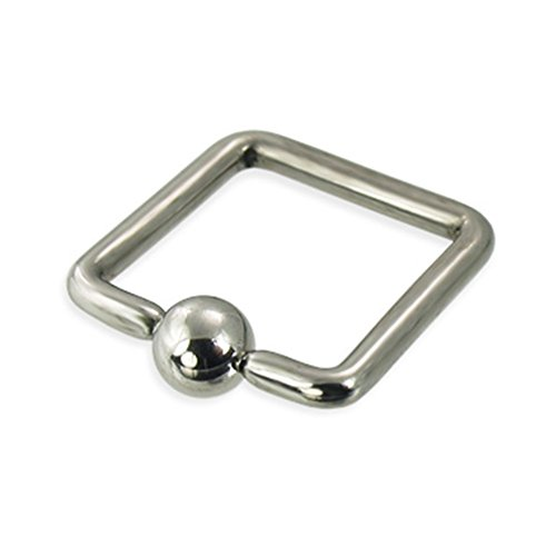 MsPiercing Square Captive Bead Ring, 12 Ga, 1/2