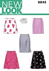 Misses Skirts sewing pattern. New Look pattern 6843, part of New Look Spring 1999 Collection. Pattern for 5 looks. For sizes A (8-10-12-14-16-18).