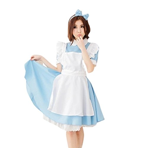 [Jutao Sexy Blue Cosplay Lolita French Apron Maid Halloween Fancy Dress Costumes Adult Blue Headdress L] (Broomstick Babe Halloween Costume)