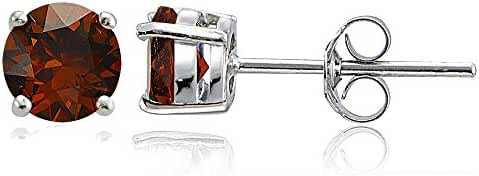 Sterling Silver 6mm Round Solitaire Stud Earrings, Choice of 12 Colors