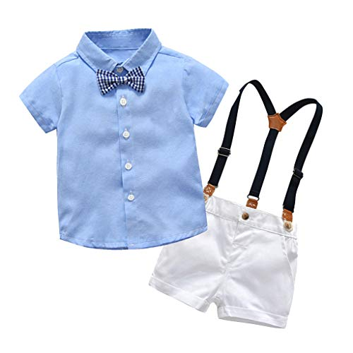 (2Piece Infant Baby Boys Gentleman Outfit Set, Bowknot Stripe Shirt Suspenders Shorts Overalls, Party Suit)