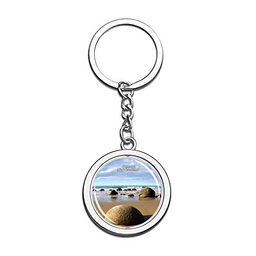 New Zealand Keychain Moeraki Boulders Oamaru Key Chain 3D Crystal Spinning Round Stainless Steel Keychains Travel City Souvenirs Key Chain Ring -