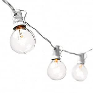 Globe String Lights with G40 Bulbs - Connectable Outdoor String Lights for Garden Party Patio Bistro Market Cafe Hanging Umbrella Lamp Backyard Lights (25ft. White)