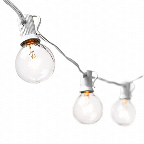 G40 String Lights With 25 Clear Globe Bulbs By Deneve : Deneve Globe String Lights with G40 Bulbs (25ft.) Connectable - Import It All