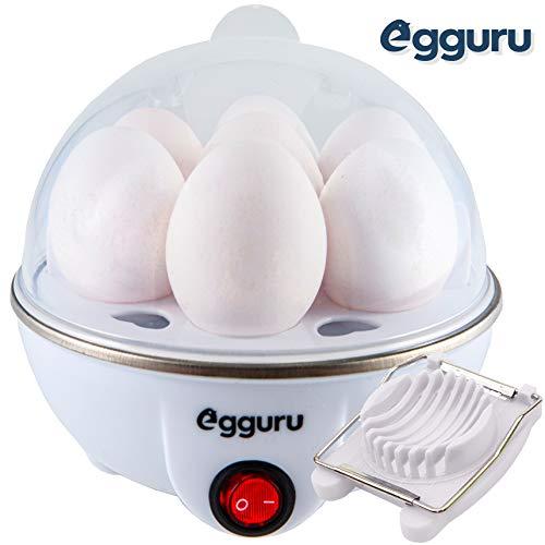 Egguru Electric Egg Cooker Boiler Maker Soft, Medium or Hard Boil, 7 Egg Capacity noise free technology Automatic Shut Off, white with egg slicer included