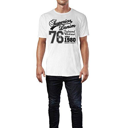 Sinus Art ® Herren T Shirt Superior Denim ( SchwarzWeiss ) Crewneck Tee with Frontartwork