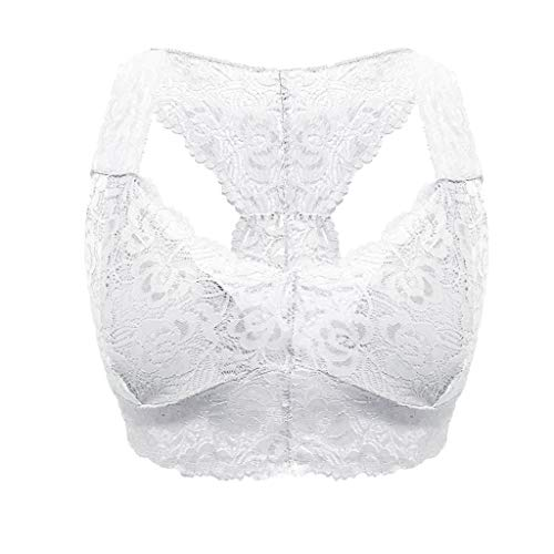 VOWUA Womens Bras Sexy Lace Vest Wire Free Comfortable Bra Lingerie Sexy V-Neck Underwear S-3XL White (Best Figure Shaping Underwear)