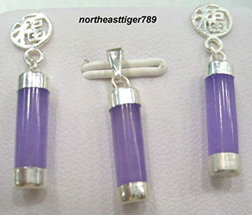 FidgetFidget 925 Sterling Silver Purple Jade Earrings Pendant & 18KWGP - Jade Pendant Purple