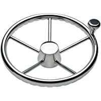 SCHMITT & ONGARO MARINE Ongaro 170 13.5 Stainless 5-Spoke Destroyer Wheel w/ Stainless Cap and FingerGrip Rim - Fits 3/4 Tapered Shaft Helm / 1731321FGK /