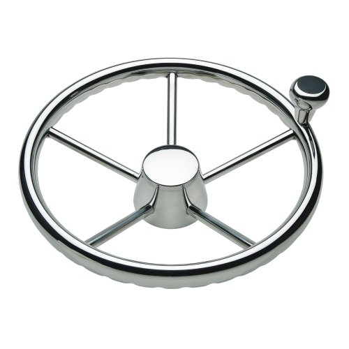 "CWR Ongaro 170 13.5"" Stainless 5-Spoke Destroyer Wheel w/ Stainless Cap and FingerGrip Rim - Fits 3/4"" Tapered Shaft Helm"