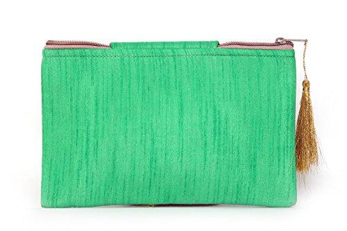 Foldover Clutch bags Bohemian Ethnic Indian Green Vintage Handmade Banjara Rajasthani UYvqaw