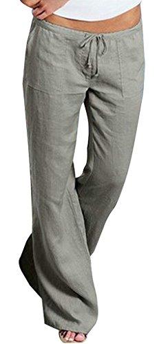 Accogliente Libero Monocromo High Chic Con Cute Vintage Donna Eleganti Pantaloni Coulisse Estivi Fashion Pantalone Larghi Di Allentato Waist Tempo Stoffa Grau Sciolto 5qAwn7nSat