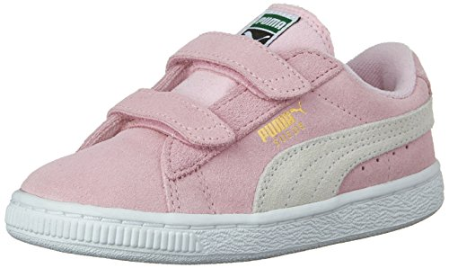 PUMA Girls' Suede 2 Straps INF Sneaker, Pink Lady/Team Gold, 9 M US Toddler