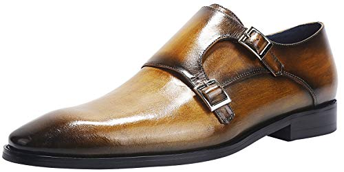 ELANROMAN Men's Business Dress Shoes Monk Strap Wedding Dress Loafers Formal Oxford Wedding Shoes Yellow US 11 EU 44 Foot Length 309.32mm by ELANROMAN