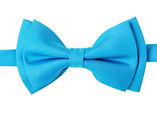 - Retreez Solid Matte Color Woven Microfiber Pre-tied Boy's Bow Tie - Turquoise - 4-7 years