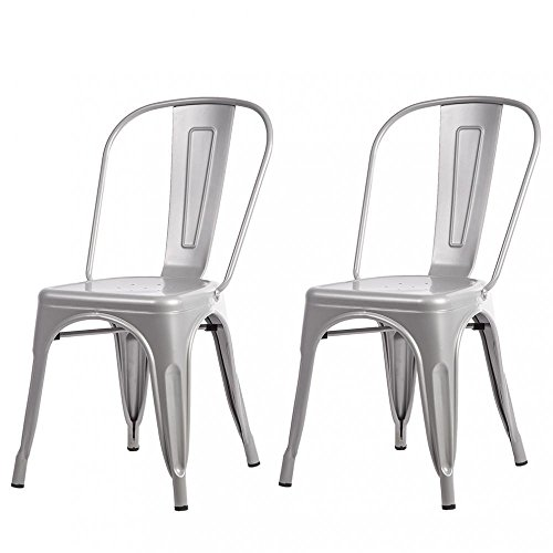 Dining Room Teak Bar Stool - Industrial Style Stackable Metal Dining Chair Bar Stools Set of 2