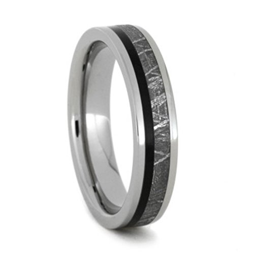 Meteorite, African Black Wood 5mm Comfort-Fit Titanium Wedding Band, Size 10 by The Men's Jewelry Store (Unisex Jewelry)
