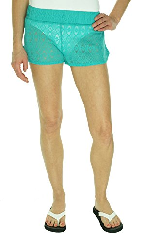 Miken Crochet Lace Pull On Green Swimsuit Cover Up Shorts Beach, Large
