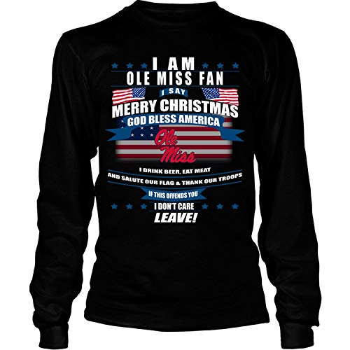 I Say Merry Christmas T Shirt, Ole Miss Rebels T Shirt - Long Sleeve Tees (XXL, Black) (Christmas Chinese Merry In Say)