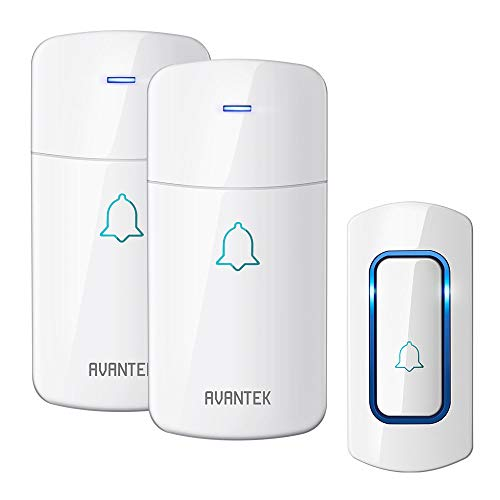 Wireless Doorbell, AVANTEK Waterpoof Door Bell Chime Operating at 1300 Feet with 52 Melodies, 5 Volume Levels & LED Flash