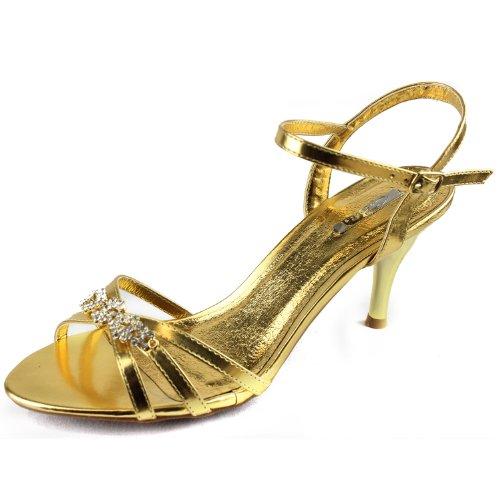 Celeste Mari-01 Rhinestone Ankle Strap Evening Shoes Gold MZR5YkEh