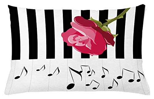 Ambesonne Modern Throw Pillow Cushion Cover, Hand Drawn Red Rose on Piano with Musical Notes Romantic Instrumental Art, Decorative Accent Pillow Case, 26 X 16 Inches, Pink Black ()