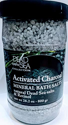 Collection Bath Salt Mineral - DEAD SEA COLLECTION Activated Charcoal Mineral Bath Salts with Retinol antioxidizing and soothing 34.2 OZ