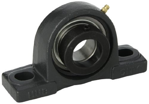 "Hub City PB221URX1-3/8 Pillow Block Mounted Bearing, Normal Duty, High Shaft Height, Relube, Eccentric Locking Collar, Narrow Inner Race, Cast Iron Housing, 1-3/8"" Bore, 2.14"" Length Through Bore, 1.875"" Base To Height"