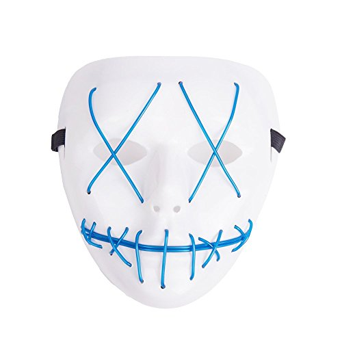 Helengili Frightening EL Wire Halloween Cosplay Led Mask Light Up Mask for Festival Parties 8 Colours (Blue)