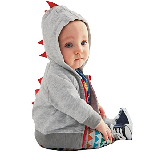 (bjduck99 Fashion Toddler Baby Boy Dinosaur Hooded Zippered Sweatshirt Coat Jacket Top)