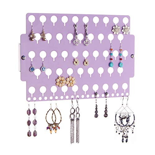 Angelynn's Stud Earring Holder Organizer Display Wall Mount Hanging Closet Jewelry Storage Rack for Girls, Purple