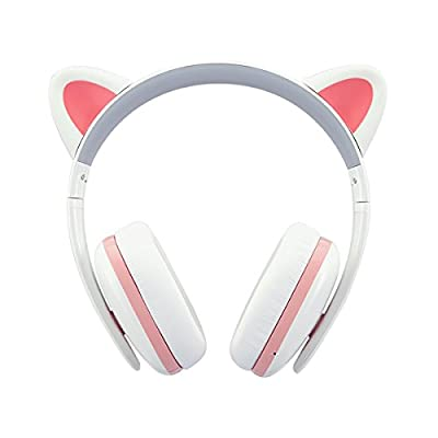 Censi Bluetooth Cat Ear Headphones Over Ear Noise Canceling Wireless Bluetooth Headphones with Mic (White, Bluetooth)