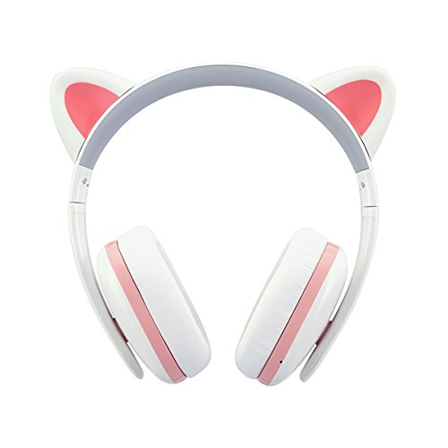 Censi Bluetooth Cat Ear Headphones Over Ear Noise Canceling Wireless Bluetooth Headphones with Mic Valentines Day Gifts for Her (White+Pink, Bluetooth)