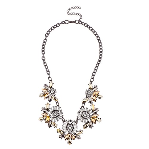 Lux Accessories Pave Crystal Elegant Statement Chain Link Necklace (Black Crystal Coral Necklace)