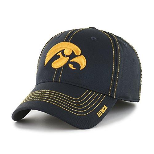 Hawkeyes Ncaa Iowa (NCAA Iowa Hawkeyes Adult Start Line Ots Center Stretch Fit Hat, Large/X-Large, Black)