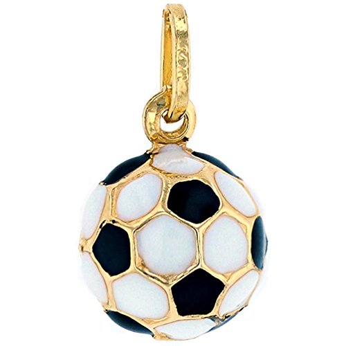 Sports by Jewelry America 14k Gold 3D Soccer Ball Charm Pendant with Black and White Enamel