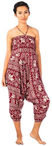 Lofbaz Jumpsuit Pantalones Harem de cintura estampado de flores funky Smocked Mujeres Elephant 2 Borgoña