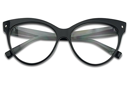 Vintage Black 50s Super Cat Eyes Oversized Non Prescription Clear Lens Glasses - Prescription For Frames Designer Glasses